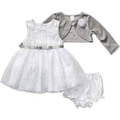 George Newborn Baby Girl Silver Holiday or Special Occasion Dress and Bloomers Set
