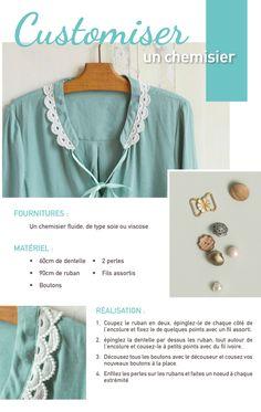 Idée créative : customiser un chemisier | Le blog Frou-Frou Frou Frou, Blog Couture, Brooch, Fashion, Fabric Flowers, Lace, Lingerie, Moda, Fashion Styles