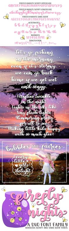 Firefly Nights - A Duo Font Family Sans Serif Fonts, Script Fonts, Custom Fonts, Font Family, Getting Wet, Punctuation, Lowercase A, Hand Lettering, Photoshop