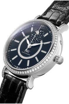 IWC SCHAFFHAUSEN - Portofino Automatic Moon Phase 37 Alligator, 18-karat White Gold And Diamond Watch - one size