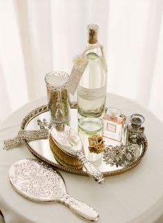 Wedding at Vizcaya Museum & Gardens by KT Merry Pre-wedding beauty. we spy perfume, vintage accessories, dazzling jewelry. we spy perfume, vintage accessories, dazzling jewelry. Vanity Decor, Vanity Tray, Vanity Set, Mirror Tray, Vanity Tables, Makeup Tables, Vanity Ideas, Table Mirror, Vintage Design