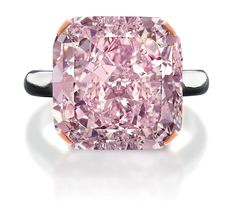 10 carat light purplish pink diamond. This 10-carat gem was cut and polished from a rough 21.35-carat stone mined in South Africa, which makes it one of the world's largest pink diamonds ever excavated. It took 3½ months to cut and polish the stone. It's set in a platinum ring.