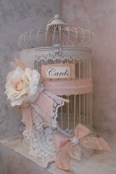 SALE / Birdcage Wedding Card Holder / Vintage Wedding  / Blush Wedding Card Holder / Victorian Wedding Decor / Romantic Wedding Decorations