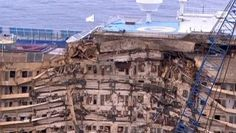 The Costa Concordia, with its damaged starboard decks. The ship was capsized off the coast of Italy for more than 20 months.