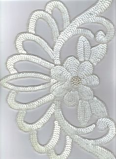 Sequined Applique Large White: