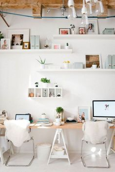 something about this bright white office makes me feel super uplifted happy chic workspace home office details ideas