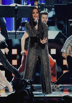 Demi Lovato performing at the 59th Annual Grammy Awards