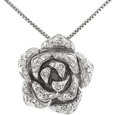 Jewel Exclusive Sterling Silver  Diamond Rose Pendant (€44) ❤ liked on Polyvore featuring jewelry, pendants, necklaces, multi, diamond jewellery, diamond rose pendant, charm pendant, pendant jewelry and diamond jewelry