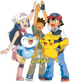 Ash (DP), Maya, Brock, Angie, Serbal y Pokemon by on DeviantArt Pokemon Images, Pokemon Pictures, Pokemon Sketch, Pokemon Poster, Pokemon Advanced, Ash Pokemon, Nerd, Gym Leaders, Anime