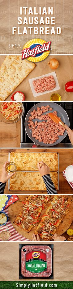 Let the pizza guy watch the football game too. Our Italian Sausage Flatbread Pizza takes 30 minutes.  Get recipes for game day at SimplyHatfield.com.
