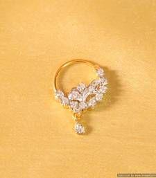 Buy Diamond Look Marathi Nose Ring nose-ring online Nath Nose Ring, Nose Ring Jewelry, Diamond Nose Ring, Gold Nose Rings, Nose Stud, Diamond Jewellery, Luxury Engagement Rings, Designer Engagement Rings, Nose Ring Online