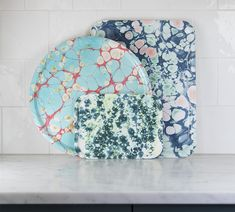 Kitchen interior design inspiration, marbled serving trays by Studio Formata. Made by hand in Sweden.