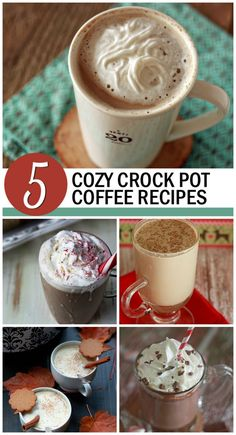 5 Cozy Crock Pot Coffee Recipes! The best thing to happen to holiday mornings. Eggnog Lattes, Gingerbread Pumpkin Lattes, Vanilla Lattes, Peppermint Vanilla Lattes, and Peppermint Mochas, all in the slow cooker.