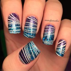 And here's the watermarble  I just used a white and a clear nail polish to marble over the gradient