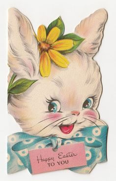 Vintage Greeting Card Easter Cute Die Cut Bunny Rabbit Face Head 1940s Hallmark | eBay
