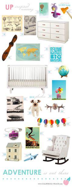Disney Pixar's UP - Inspired Nursery! -- Disney, Pixar, UP, Kevin, Dug, Doug, Carl, Muntz, Adventure is Out There, Travel, Baloons, Pilot, Plane, Airplane, Areospace, Modern, Toddler Room, Toddler Bed, Twin Bed, Kids, Kid, Nursery, Baby Room, Baby, Nursery, Blue, Teal, Aqua, Rainbow, White, Light, Gender Neutral, Neurtal Nursery, Boy, Girl, Masculine, Feminine, Art, Baby Room, Nursery, Style Board, Oeuf, Crib, Non-Toxic, Green 0VOC, Eco Friendly, Organic