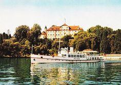 Mid Century German Travel Postcard Mainau Tour Boat Lake Constance Konstanz