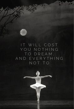 It will cost you nothing to dream. And everything not to. And dreams DO become…