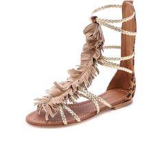 Visconti & Du Reau Cuba Fringe Gladiator Sandals (4.745 UYU) ❤ liked on Polyvore featuring shoes, sandals, zapatos, pony, leopard gladiator sandals, metallic gladiator sandals, roman sandals, leopard sandals and leopard print shoes