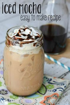 easy to make recipe, this iced mocha is the perfect coffee treat to compliment any breakfast, including Yogurt Cups. {ad}An easy to make recipe, this iced mocha is the perfect coffee treat to compliment any breakfast, including Yogurt Cups. Iced Mocha Coffee, Iced Coffee At Home, Iced Coffee Drinks, Coffee Drink Recipes, Starbucks Drinks, Starbucks Iced Mocha Recipe, Chocolate Iced Coffee Recipe, Healthy Iced Coffee, Iced Coffee Keurig