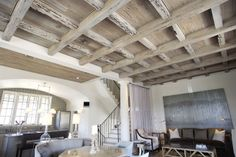 Pecky Cypress coffered ceiling in a Rosemary Beach Home ~ designed by Bobby McAlpine