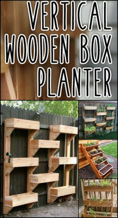 Vertical Wooden Box Planter Go Vertical With Your Greenery! This Planter Saves Garden Space And is Efficient in Watering Plants Garden Planter Boxes, Wooden Garden Planters, Tiered Garden, Vegetable Garden Tips, Veg Garden, Vertical Planter, Raised Garden Beds, Raised Beds, Water Plants