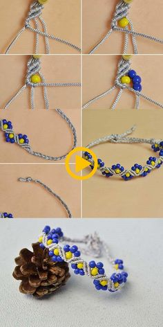 Wanna the braid flower beads bracelet?The tutorial will be published by LC.Panda Wanna the braid flower beads bracelet?The tutorial will be published by LC. Macrame Bracelet Patterns, Macrame Necklace, Friendship Bracelet Patterns, Macrame Jewelry, Friendship Bracelets, Bracelet Designs, Braided Bracelets, Seed Bead Bracelets, Macrame Bracelets