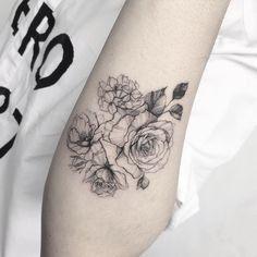 Floral Line Work Tattoo