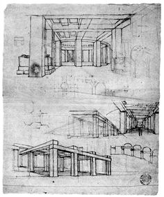 Sketches for the Pfeilerhalle made by Friedrich Gilly in 1797. Here we can see the abstracted, neo-classical language of Gilly which had a profound influence on his student and friend Karl Friedrich Schinkel and, through Schinkel, on such architects as Behrens and Mies van der Rohe.