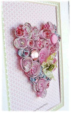 Diy Rolled Paper Rose Heart Collage - Tutorial