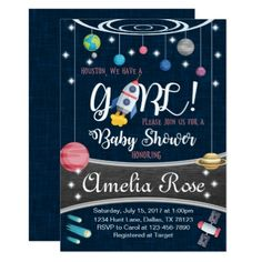#shower - #Planet Outer Space Baby Shower Invitation Girl