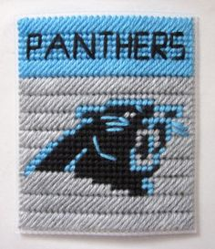 Plastic Canvas Tissue Box Patterns | Carolina Panthers tissue box cover in plastic canvas PATTERN ONLY