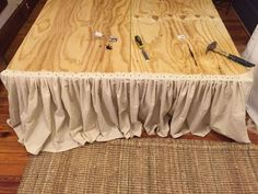 Sewing Clothes diy no sew drop cloth bed skirt, bedroom ideas, diy, how to - She nails drop cloth to a plywood frame. The reason? LOVE this idea! Cama Box, Drop Cloth Curtains, Hanging Curtains, Swag Curtains, Roman Curtains, Beige Curtains, French Curtains, Ikea Curtains, Striped Curtains