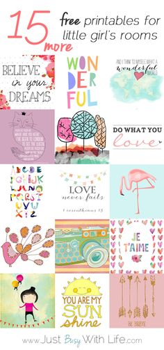 15 More Free Printables for Little Girl's Rooms I've been working a lot on the walls of our house. There's been a lot of painting. (See my post on painting most of our downstairs here and painting Charlotte's room pink here. Girl Nursery, Girls Bedroom, Bedrooms, Nursery Decor, Bedroom Decor, Little Girl Rooms, Little Girls, Paper Crafts, Diy Crafts