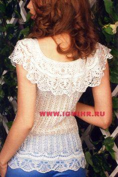 Белая ажурная кофточка с воланом - 4 Лёгкие кофточки - Женская одежда - Каталог альбомов - SANA петелька