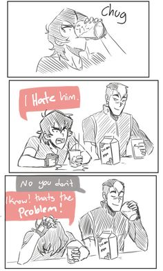 Altean!Lance | Tumblr LANCE AND KEITH HIGHKEY LOVE/HATE EACHOTHER----is no one going to mention the fact the Keith chugged a glass of chocolate milk as it was alcohol?