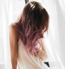 Image result for brown hair dip dyed pink