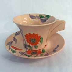 Clarice Cliff Hand Painted Bizarre Damask Rose Cup & Saucer #claricecliff #rose #cupandsaucer