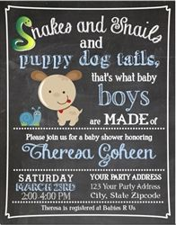 Baby Shower Invitation.  Snakes and snails and puppy dog tails.  Chalkboard background.