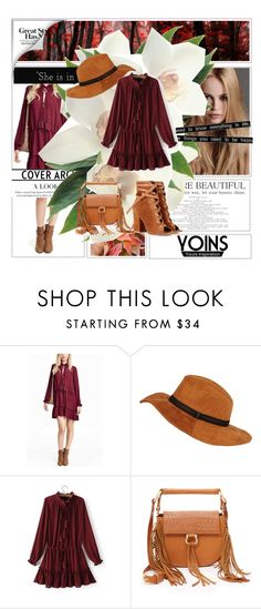 """""""Tie-neck Drawstring Waist Mini Dress in Burgundy"""" by avete ❤ liked on Polyvore featuring KAROLINA, Black Rivet, SANCIA, Gianvito Rossi and Friend of Mine"""