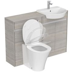Ideal Standard Concept Air wood light grey 1200 combination unit with toilet and seat Countertop Basin, Countertops, Concealed Cistern, Back To Wall Toilets, Bowl Designs, Vanity Units, Engineered Wood, White Style, Space Saving