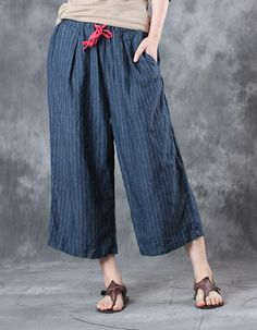 Simple Design Pinstriped Linen Trousers Womans Baggy Pants    #baggy #linen #stripes #trousers #pants #amazing #blue #summer