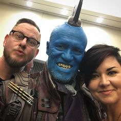 Fun day doing #Yondu makeup with @lulu_fxmakeup  on @michael_rooker  for the new #guardiansofthegalaxy film panel at #comicon today! #scottstoddardart  #yondu #guardiansofthegalaxy  #makeupartist  #prostheticmakeup  #marvel