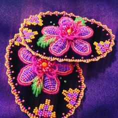 Vamps made by Ashley Thompson  Iroquois raised beadwork