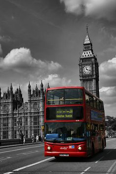 1st visit: 1998. Big Ben & the iconic double-decker bus. Cheers, London.