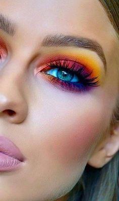 Make-Up make-up;make-up concepts;make-up tutorial;colourful eye make-up;vibrant eye make-up; Bright Eye Makeup, Colorful Eye Makeup, Blue Eye Makeup, Eye Makeup Tips, Smokey Eye Makeup, Makeup Inspo, Beauty Makeup, Makeup Ideas, Makeup Tutorials