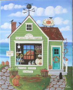 The Pumpkin Patch Market Folk Art Print by KimsCottageArt on Etsy, $12.95