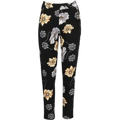 Floral Pocket Peg Leg Trousers ($17) ❤ liked on Polyvore featuring pants, peg-leg pants, pocket pants, floral trousers, peg-leg trousers and flower print pants