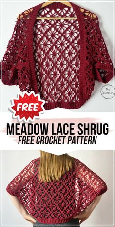 crochet Meadow Lace Shrug free pattern crochet Meadow Lace Shrug free pattern - easy crochet shrug pattern for beginners. Easy Crochet Shrug, Crochet Bolero Pattern, Crochet Shawls And Wraps, Crochet Shirt, Crochet Jacket, Free Crochet, Knit Crochet, Crochet Patterns, Crochet Shrugs