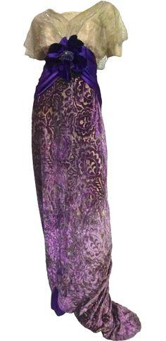 Art Nouveau Gown: ca. 1901-1910, silk lace, satin, velvet, silk velvet flower.